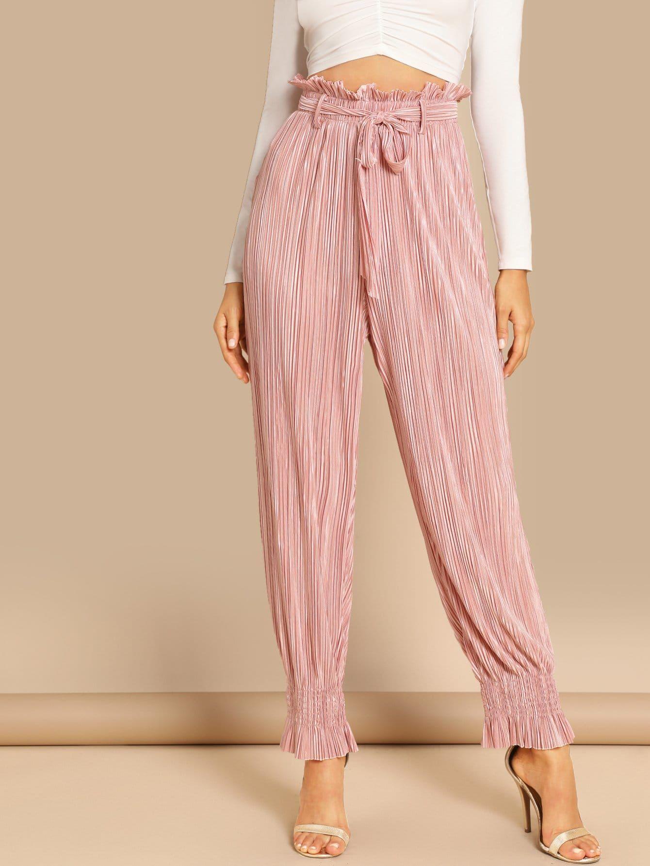 5d750a617680 Glamorous Plain Regular Elastic Waist High Waist Pink Long Length Tie Neck  Frill Trim Pleated Pants with Belt