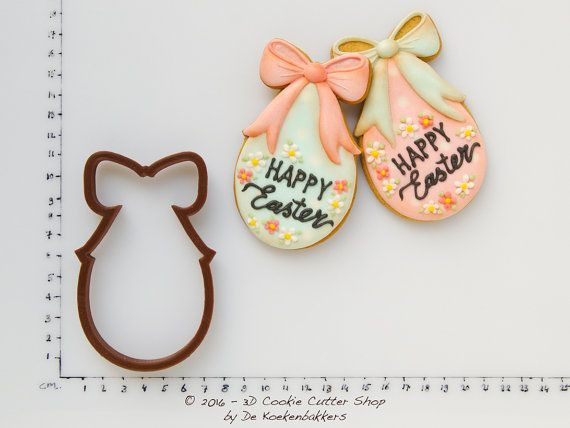 Egg With Bow Easter Cookie Cutters Fondant Cutters Easter Egg with Bow Cookie Cutter Cute Easter Egg Cutter