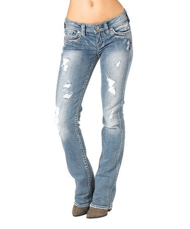 bb9bb7bbe66 Indigo Distressed Bootcut Jeans - Women by Silver Jeans Co. #zulilyfinds