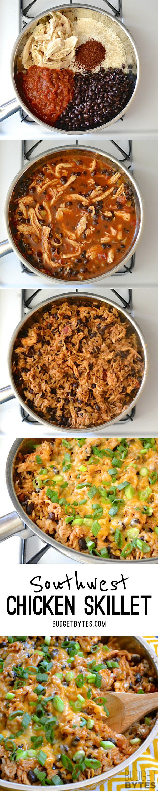 If you're looking for a quick and easy dinner, this Southwest Chicken Skillet is it! Precooked chicken makes this dinner possible in about 30 minutes. BudgetBytes.com #chickenbreastrecipeseasy