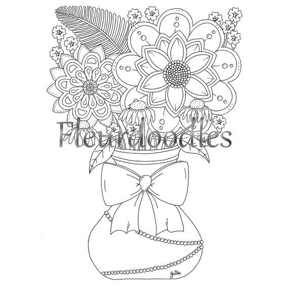 coloring page, bouquet, floral coloring, instant download, flower ...