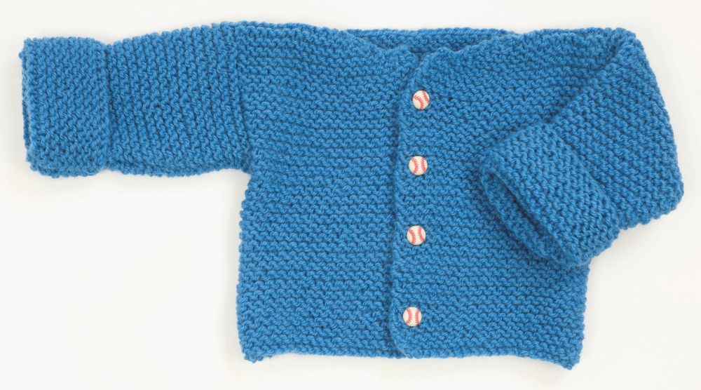 dc6336873b75f Easy Garter Stitch Baby Sweater in Plymouth Encore Worsted - F165 ...