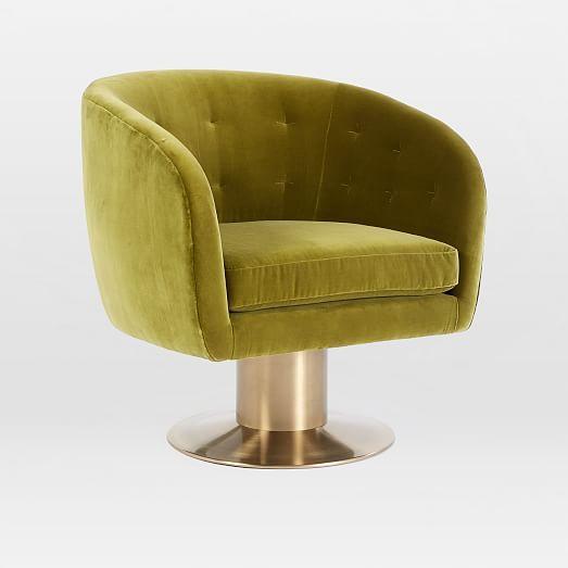 Tufted Pedestal Swivel Chair