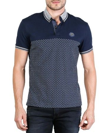 Camiseta de hombre, tipo polo, manga corta. Slim Fit. Mini print con efecto  desvanecido. Cuello con vivo y acento de color, puños tejidos con rondos en  ... 3ae24e2b18