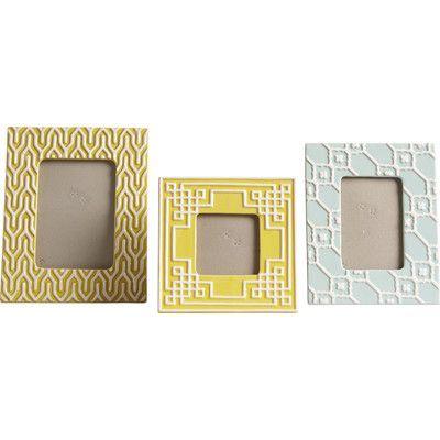 IMAX Sylvia 3 Piece Geometric Ceramic Picture Frame Set