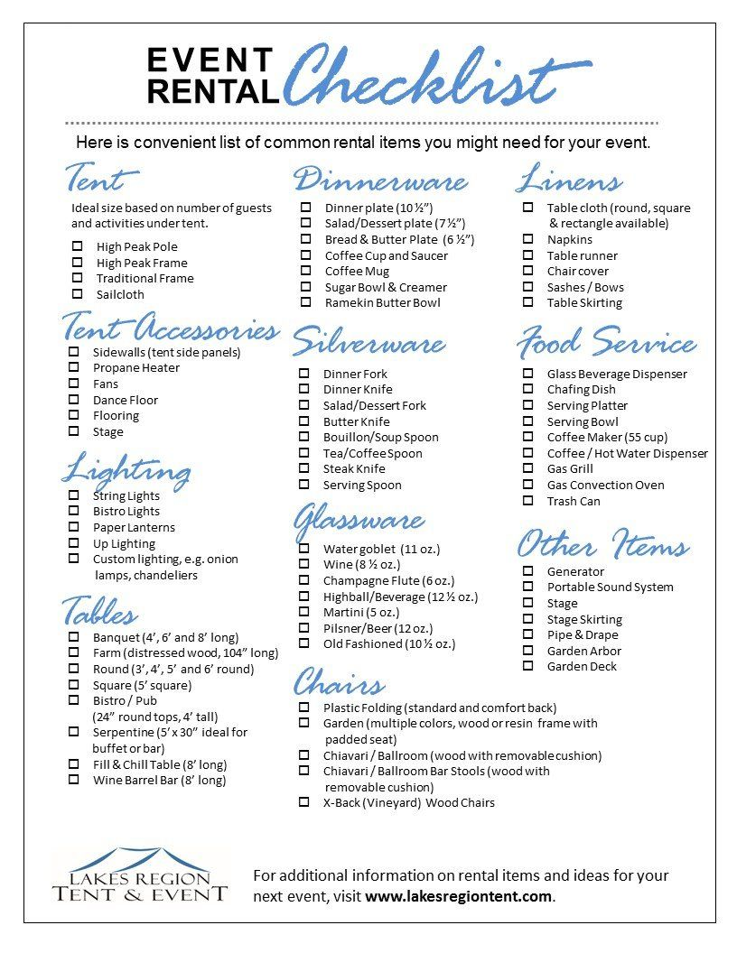 Wedding Rentals & Party Rentals Checklist | Wedding rental ...