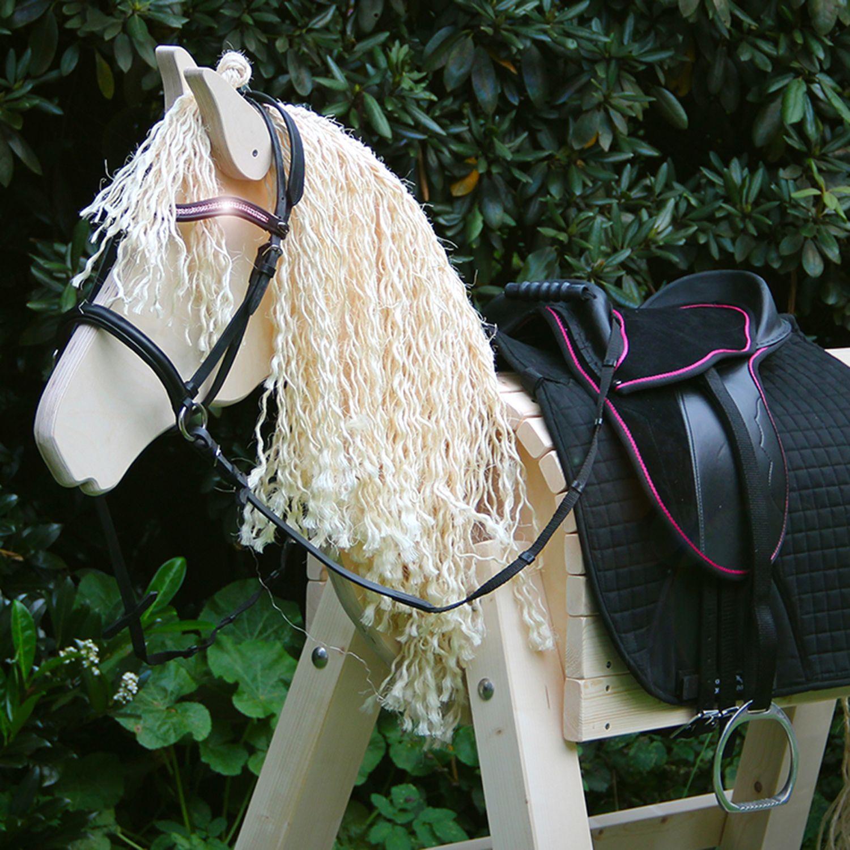 Holzpferd Princess Komplett Set Deluxe Holzpferd Pferdemahne Pferd