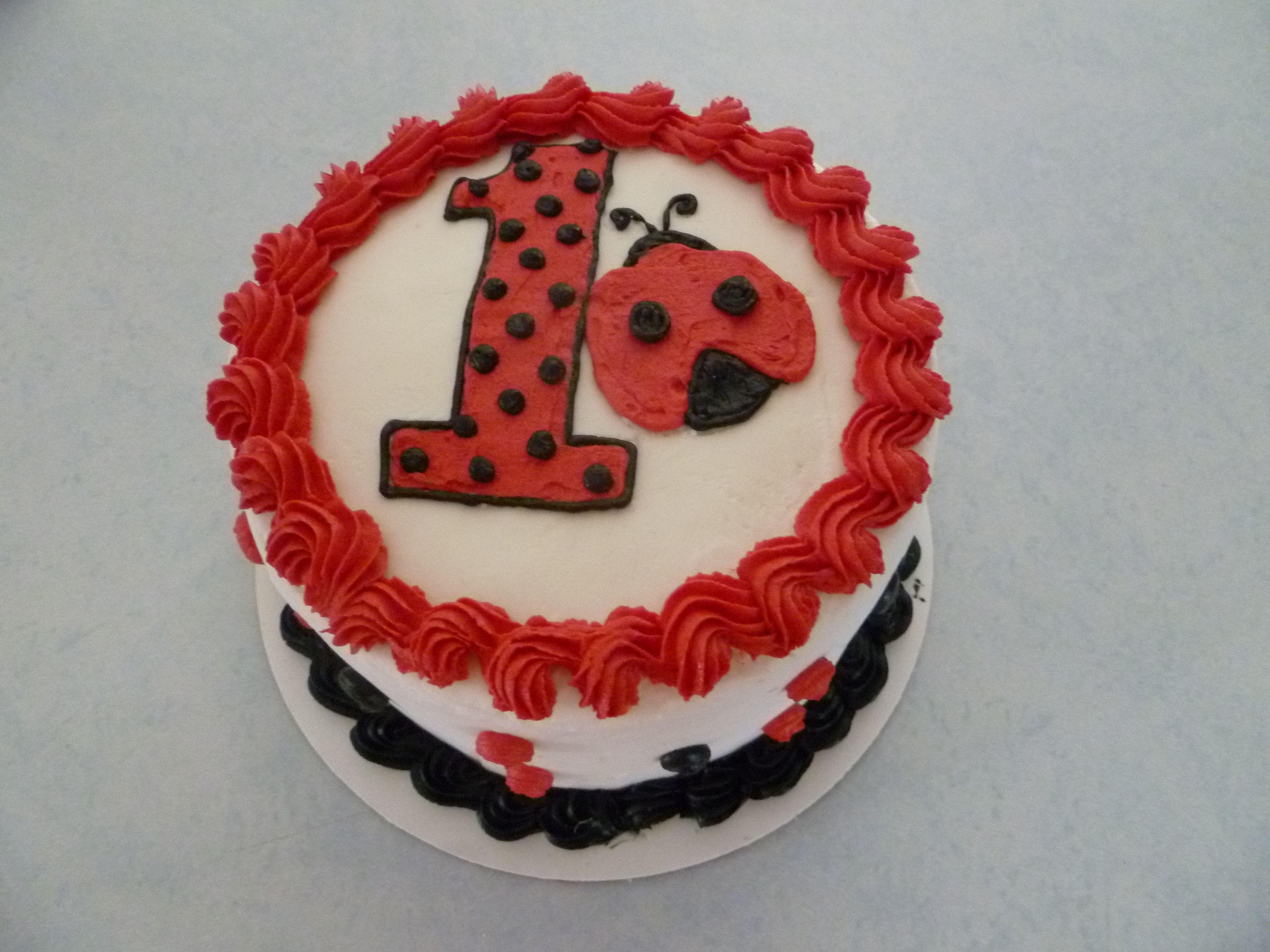 Stupendous Ladybug Smash Cake W Buttercream Icing Ladybug Birthday Party Personalised Birthday Cards Cominlily Jamesorg