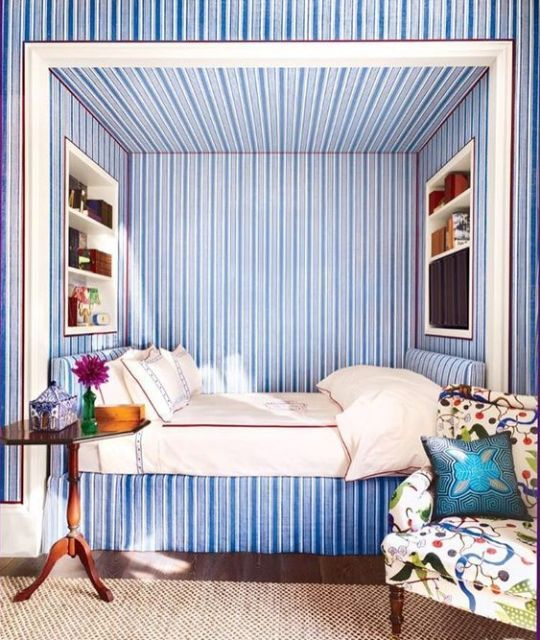 blue white striped alcove bed katie ridder bedrooms alcove rh pinterest com