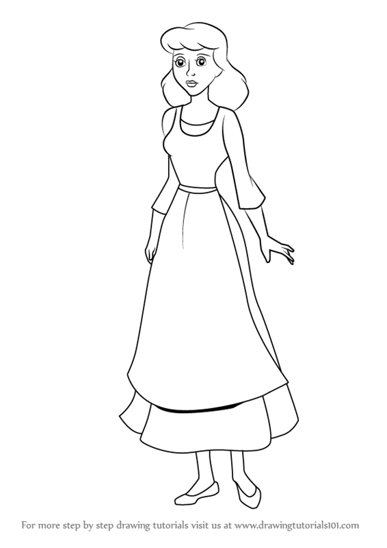 Learn How to Draw Peasant Cinderella (Cinderella) Step by