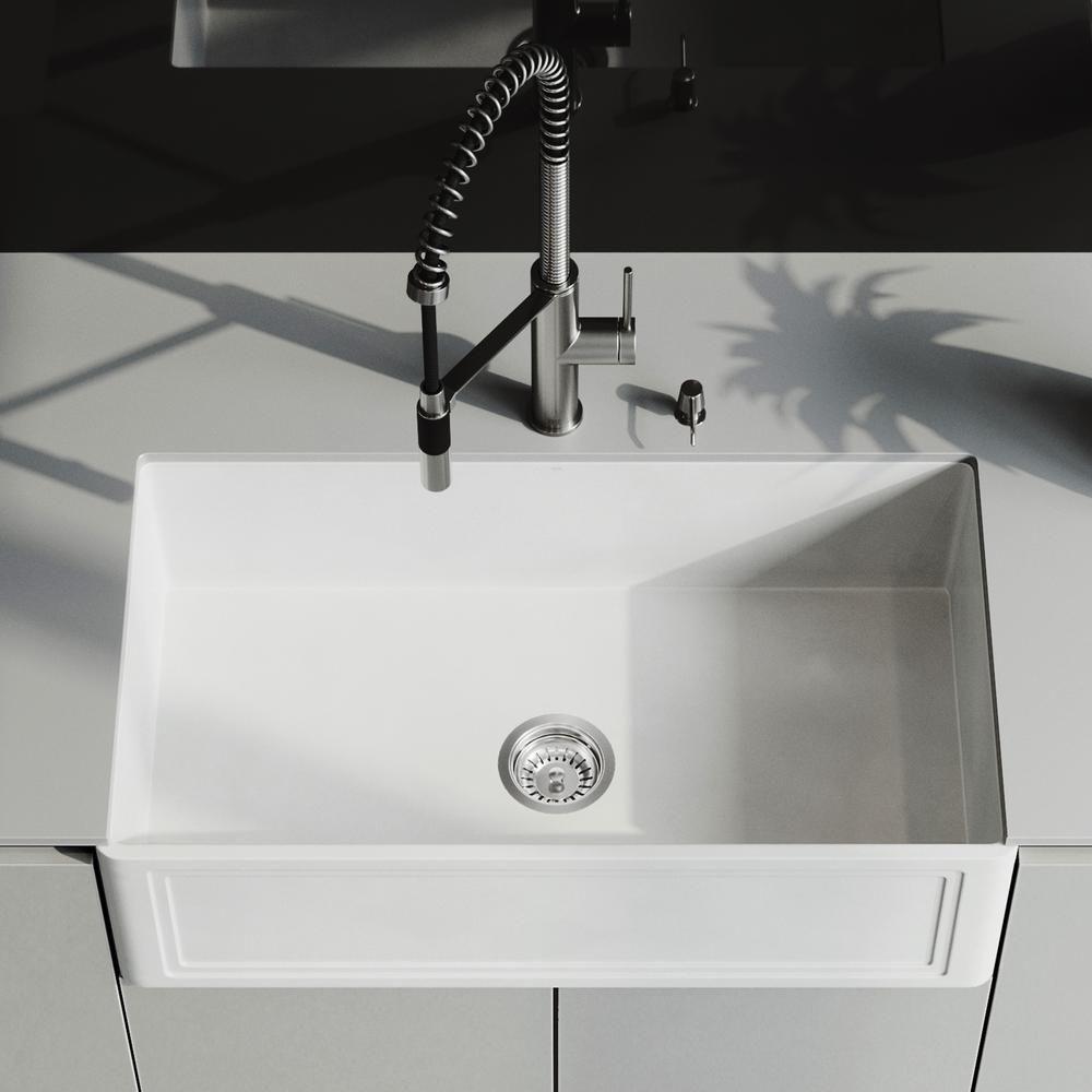 Vigo Matte Stone Farmhouse Composite 33 In 0 Hole Single Bowl Kitchen Sink With 1 Strainer In Matte White Vigo Matte Stone F Single Bowl Kitchen Sink Sink Faucet