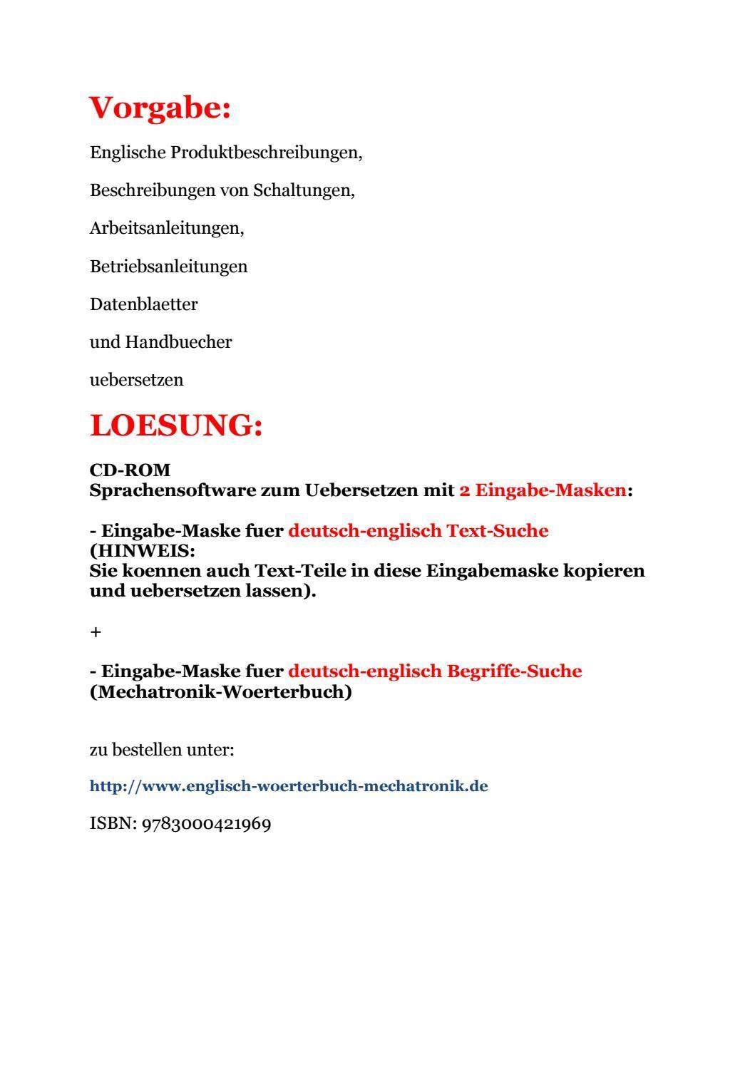 Texte Uebersetzungen Englische Produktbeschreibungen Arbeitsanleitungen Englische Texte Worterbuch Worterbuch Deutsch Englisch