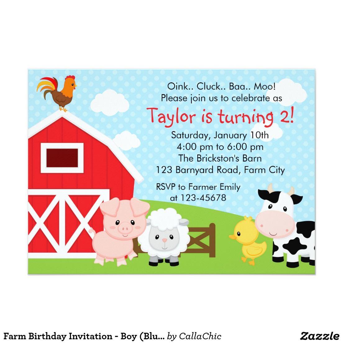 Invitación del cumpleaños de la granja - muchacho invitación 12,7 x ...