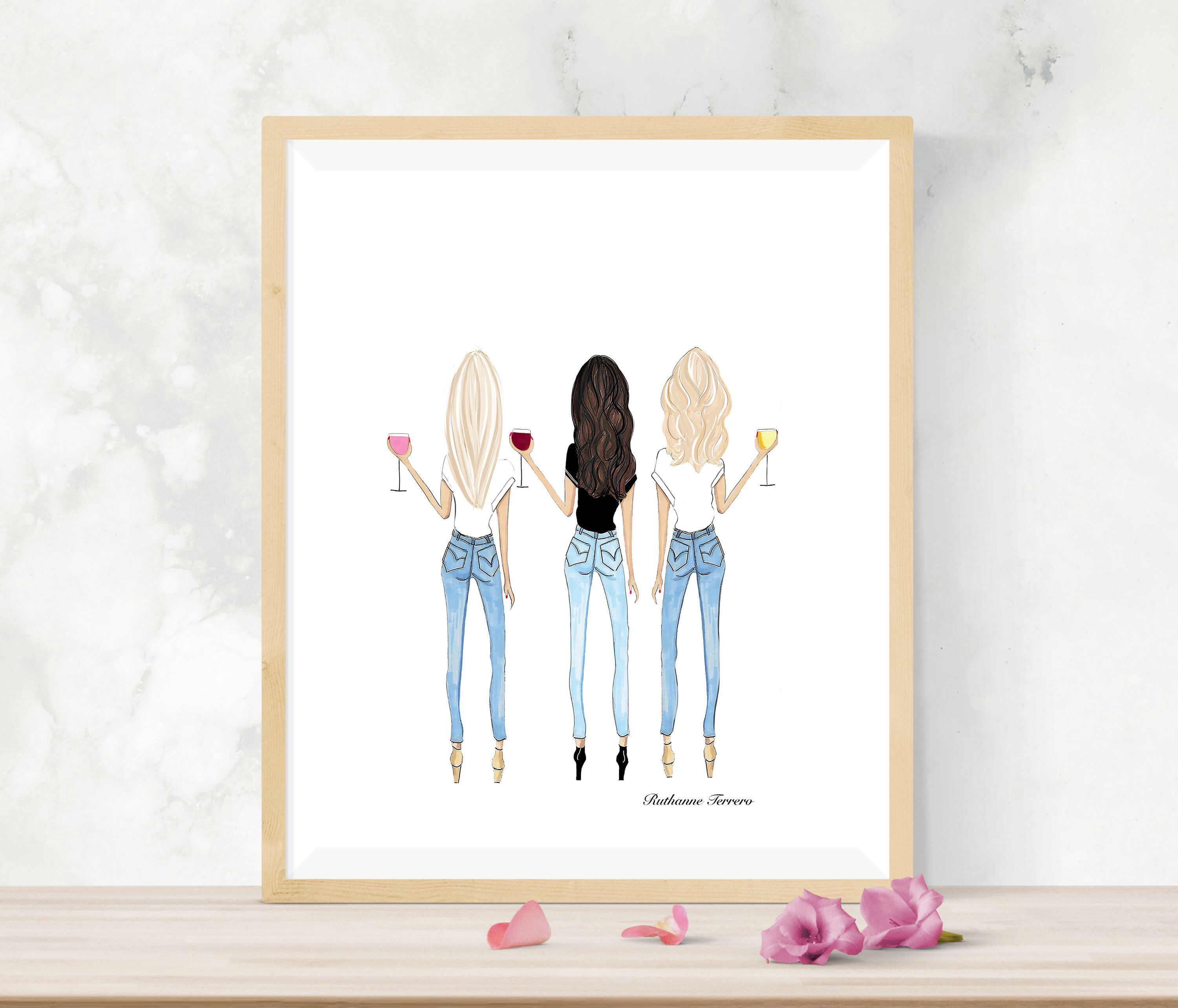 Two Blondes And A Brunette Fashion Illustration Best Friend Etsy Drawings Of Friends Friends Illustration Two Blondes