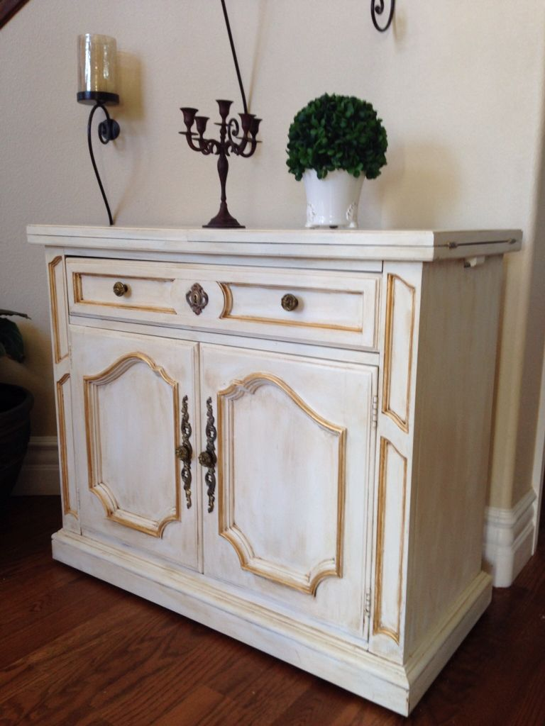 Transformed This Lovely Buffet With Creamy White Chalk Paint Gold Wax And Dark Wax Home Decor Furniture Refinishing Furniture Furniture