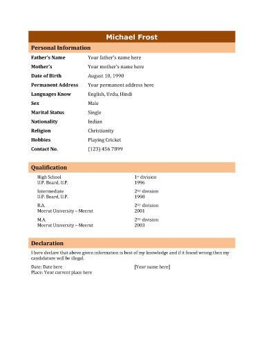 Image Result For Format Of Biodata  Aaaa    Resume