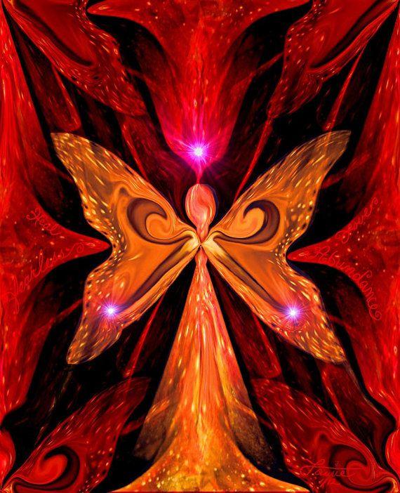 Chakra Abstract Angel Energy Art Red Orange Reiki by primalpainter, $20.00