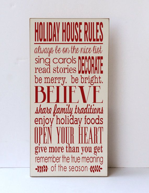 Christmas Wood Sign Holiday House Rules Sign for by vinylcrafts ...