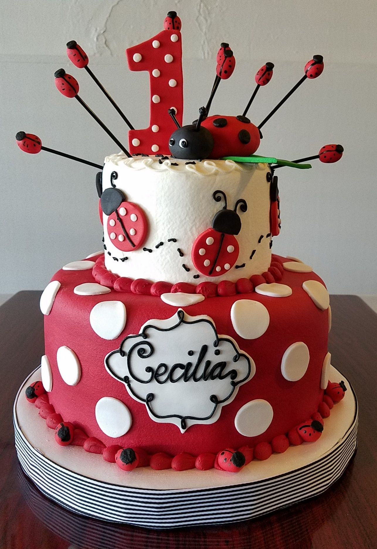Fantastic Ladybug 1St Birthday Cake Adrienne Co Bakery With Images Personalised Birthday Cards Sponlily Jamesorg
