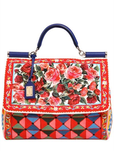 63a32df242 DOLCE   GABBANA LARGE SICILY SOFT PRINTED CANVAS BAG