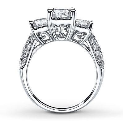 3-Stone Diamond Ring 2 ct tw Princess-cut 14K White Gold