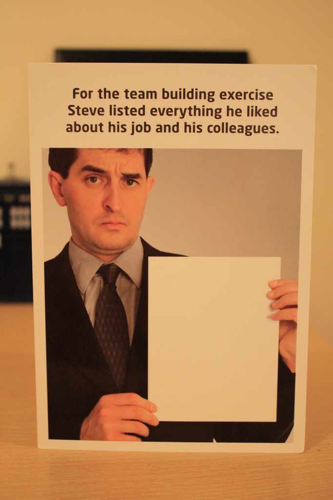 "Teambuilding Exercise - ""Steve listed everything he liked about his job and his colleagues."" Foto: Ben Dodson"