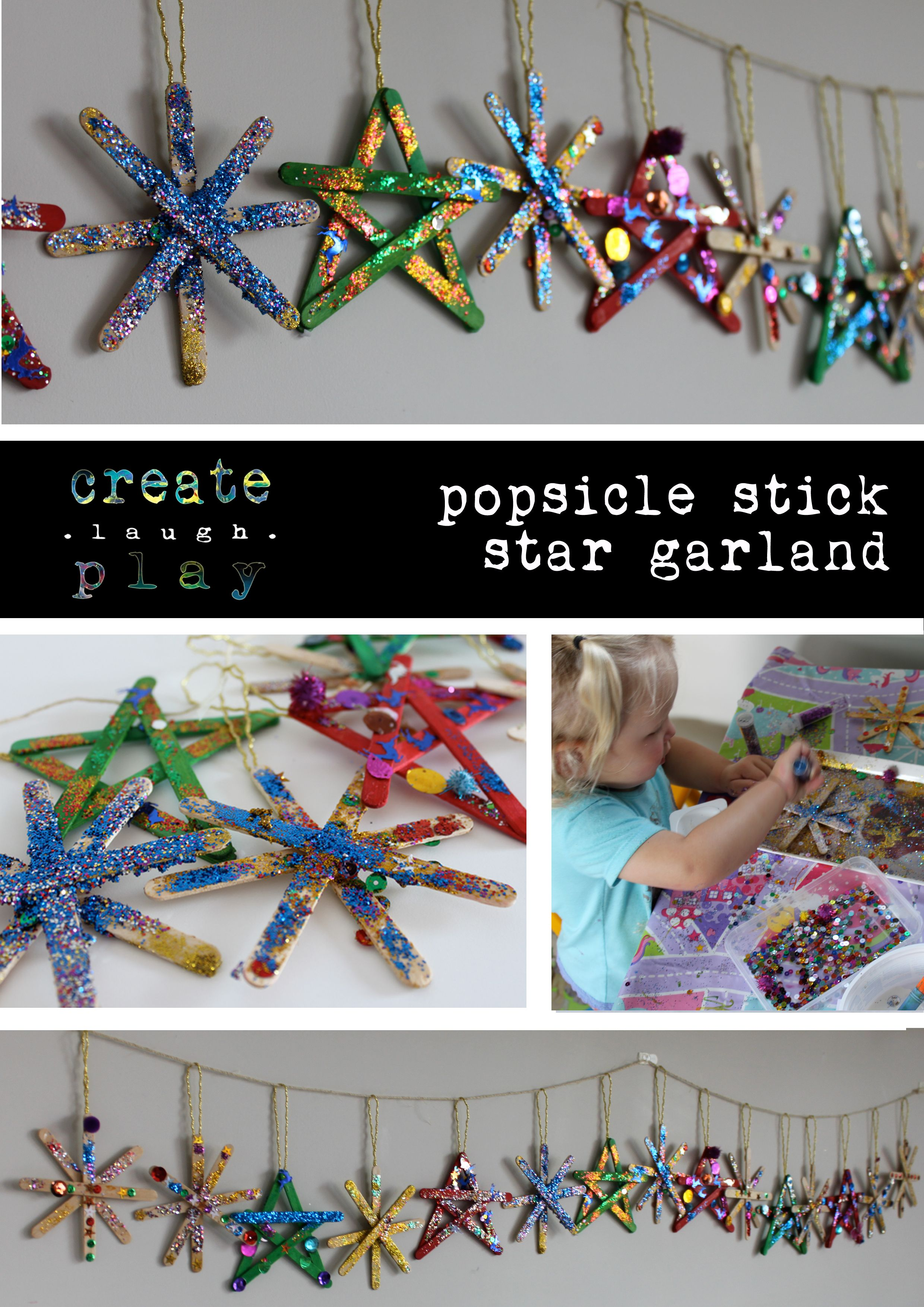 Craft Good Old Fashioned Popsicle Stick Star Garland Never Loses