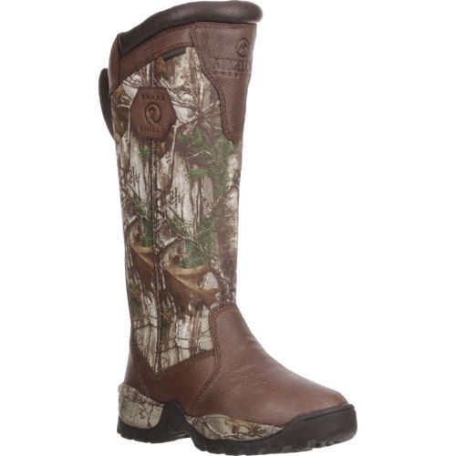 1d9e2ff035441 The Magellan Outdoors Women's Snake Shield Armor II Hunting Boots feature  leather uppers with a Realtree Xtra® camo pattern.