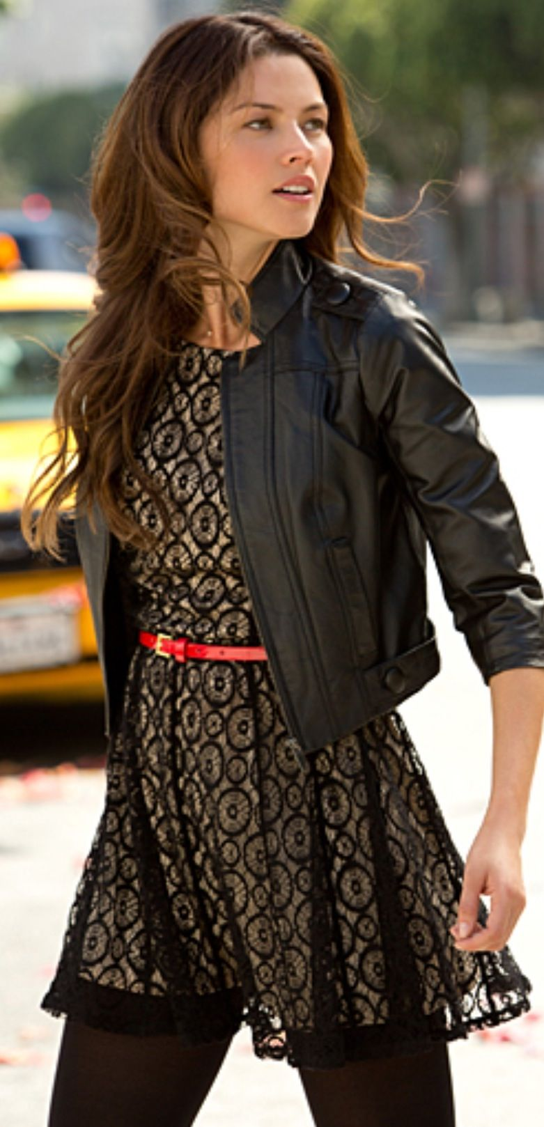 Cute Black Leather Jacket With Lace Black Dress And Some Black Tights With Black Boots Stylish Party Dresses Leather Jacket Dress Leather Dresses [ 1618 x 781 Pixel ]