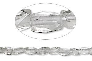 "Bead, quartz crystal (natural), 7x5mm hand-cut faceted rectangle, B grade, Mohs hardness 7. Sold per 15-1/2"" to 16"" strand."