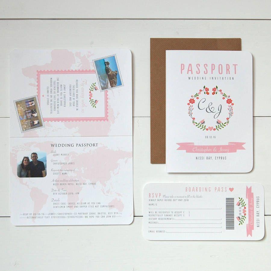 Floral\' Passport To Love Wedding Invitation And RSVP   Passport ...