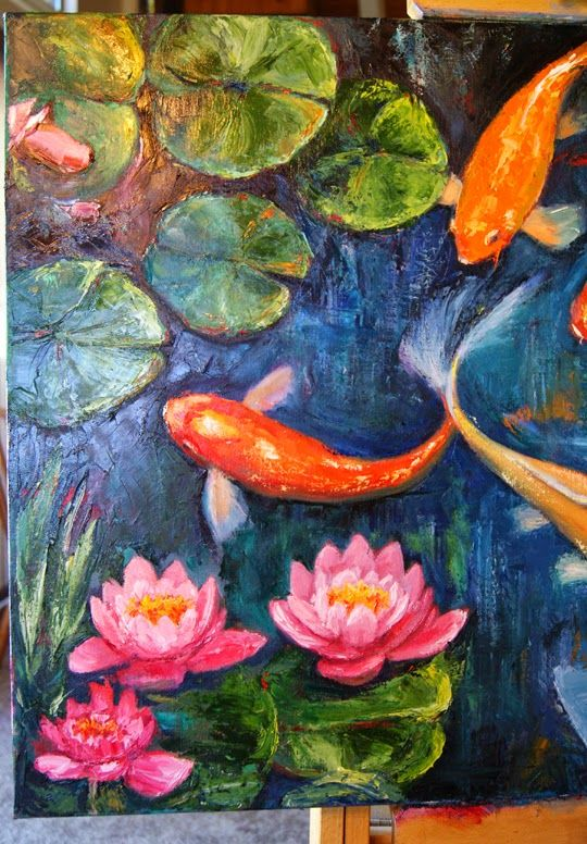 Acrylic paintings of koi fish google search painting for Koi fish pond for beginners