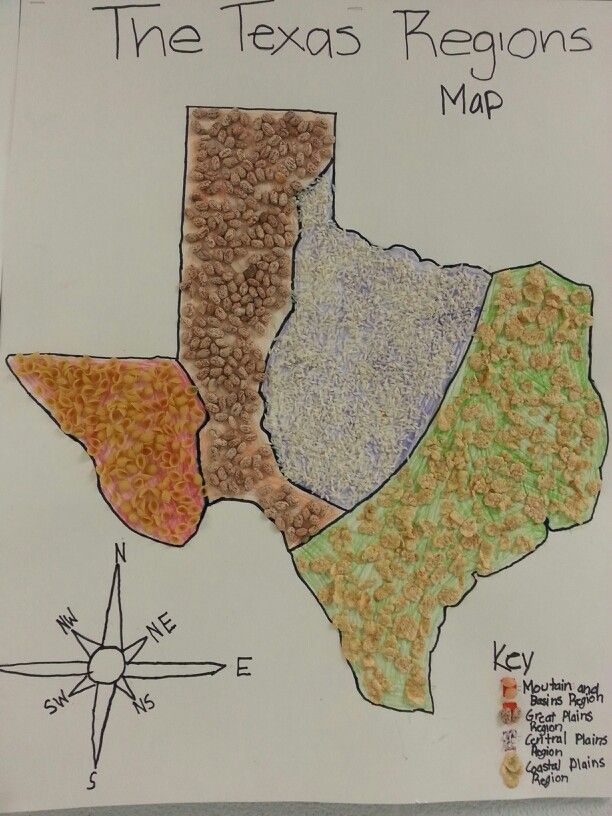 Texas Regions Project Map. Students could do this by using products that are majorly produced in each region.