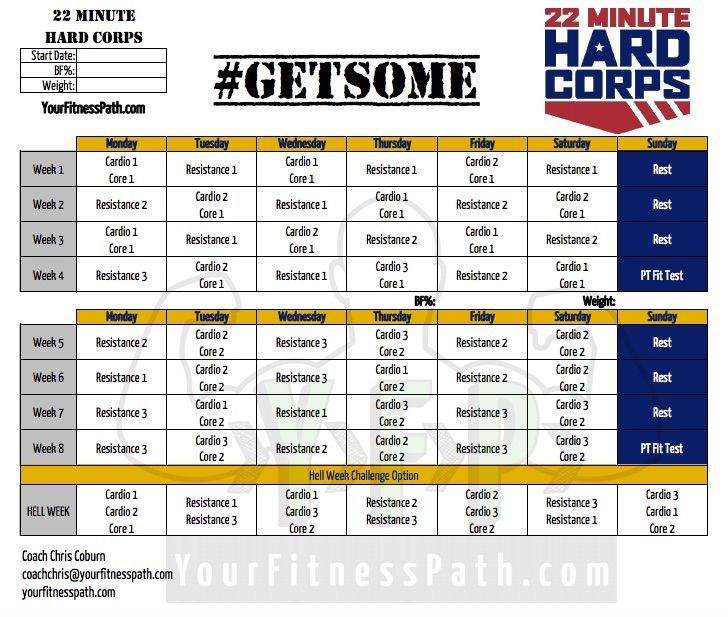 Minute Hard Corps Workout Calendar Base Kit  Workout Plans