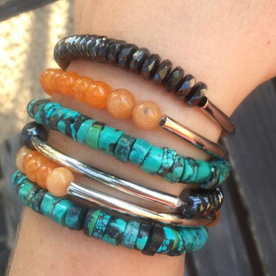 Summer fashion bracelet Turquoise Jade Hematite Bangle bracelet / bracelet stack, handmade bracelet, by YellowMangoBracelets