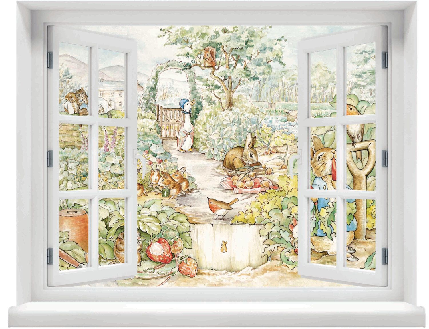 Window with a view beatrix potter peter rabbit scene wall for Beatrix potter mural wallpaper
