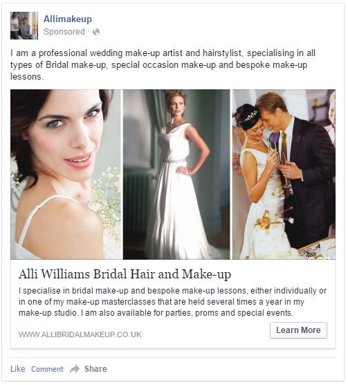 Facebook Advert For Alli Williams Promoting Bridal Hair And Make Up Services Wedding Dresses Lace Bridal Hair Wedding Dresses