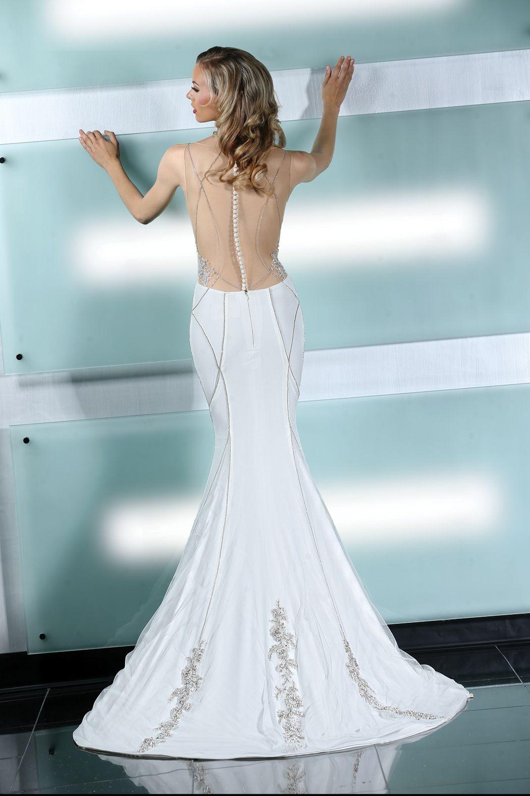 Simone Carvalli wedding dress style 90226 #illusionback #charmeuse ...