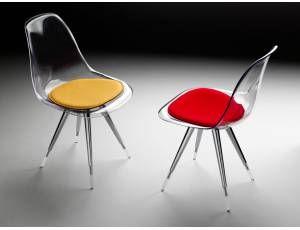 Angel sedia sedia con scocca in policarbonato trasparente o bianco