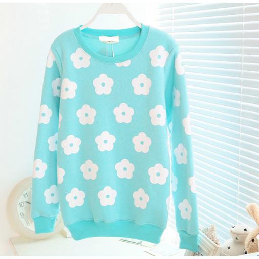 تي شيرت نسائي شتوي بقماش القطن المتوسط الثقل تي شيرت برسمات الأزهار بأكمام طويلة التيشيرت بلون سم Floral Print Sweatshirt Fashion Pastel Fashion