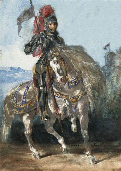 Eugène Delacroix - Chevalier en armure (1820)   Armure ...