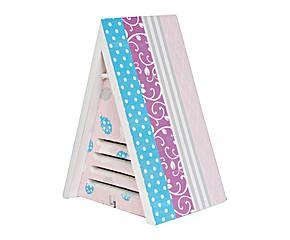 Casetta per coccinelle a triangolo in legno decorato multicolor - 15x20x12 cm