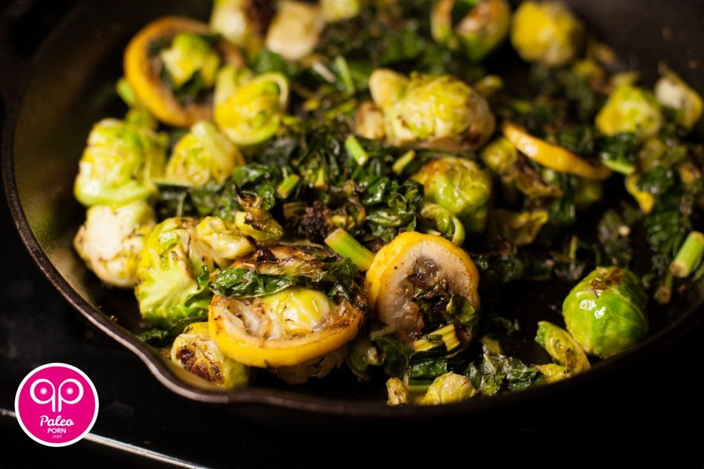 Pan Fried Lemon, Brussels Sprouts and Chard