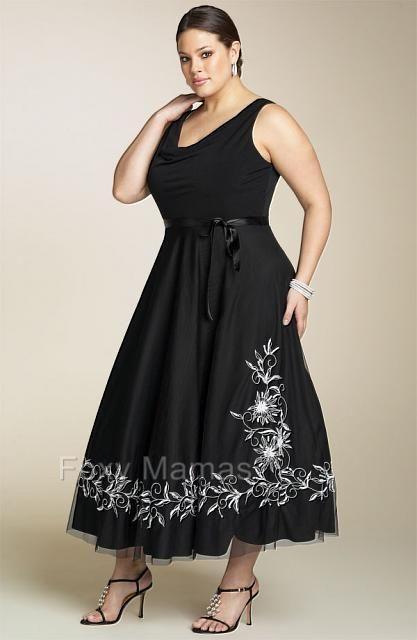 6475c2f3c8 FOXYMAMA Plus Sze Black Embroidered 3 4L Cocktail Dress Sizes 16~34 ...