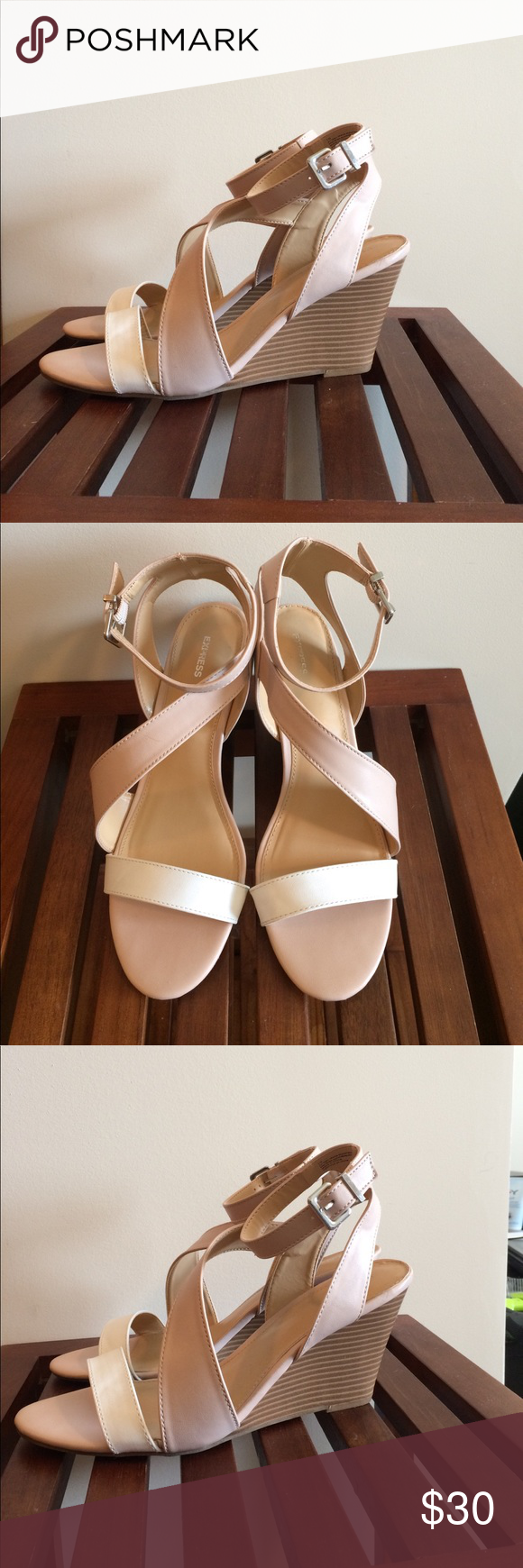 Express brand strappy wedge sandal 3 inch heel. Open toe sandal. Adjustable buckle ankle strap. I bought these beauties from Express and only wore them once! Perfect for spring and summer ☀️ They are a beautiful cream/beige color with a white strap across the front. Express Shoes Wedges