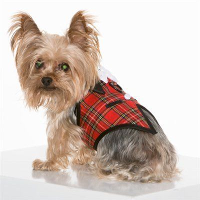 Furever Plaid Vest Harness with Satin Bow Tie