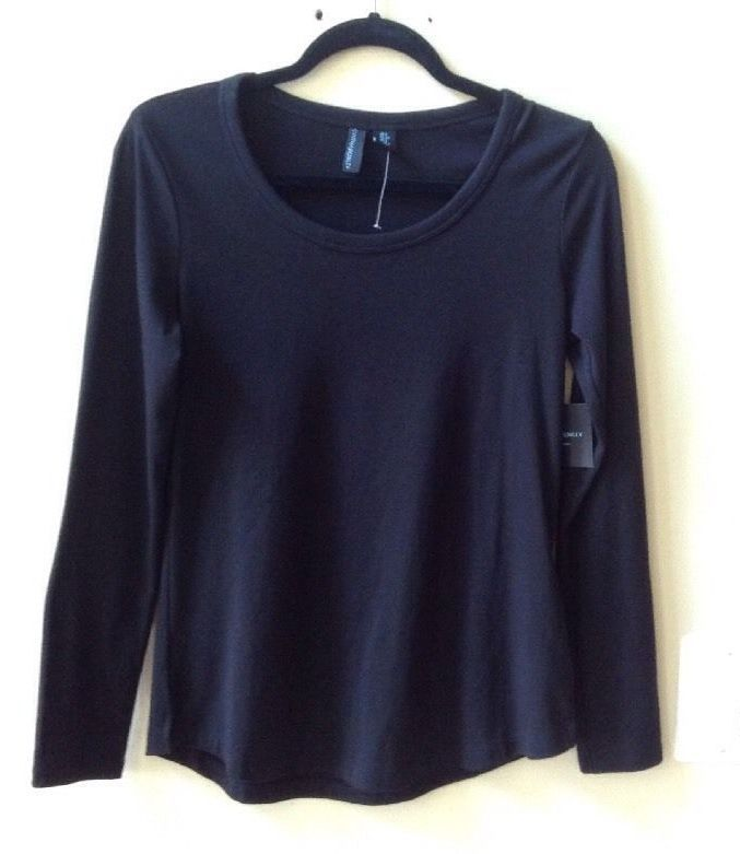 NWT CYNTHIA ROWLEY SOLID BLACK MODAL/COTTON/SPNDX LONG SLEEVE BLOUSE SIZE S #CYNTHIAROWLEY #Blouse