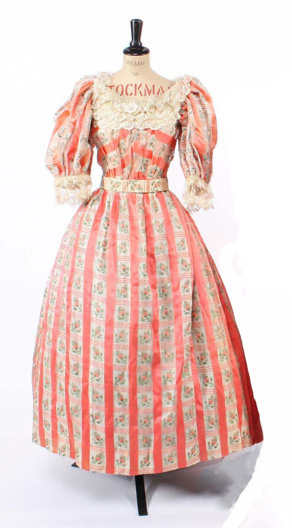 1850s Evening Dress Of Cream Chiffon With Salmon Pink Satin And Woven Floral Stripes With Puffed Sleev Victorian Dress Shop Historical Dresses Victorian Dress [ 1788 x 991 Pixel ]