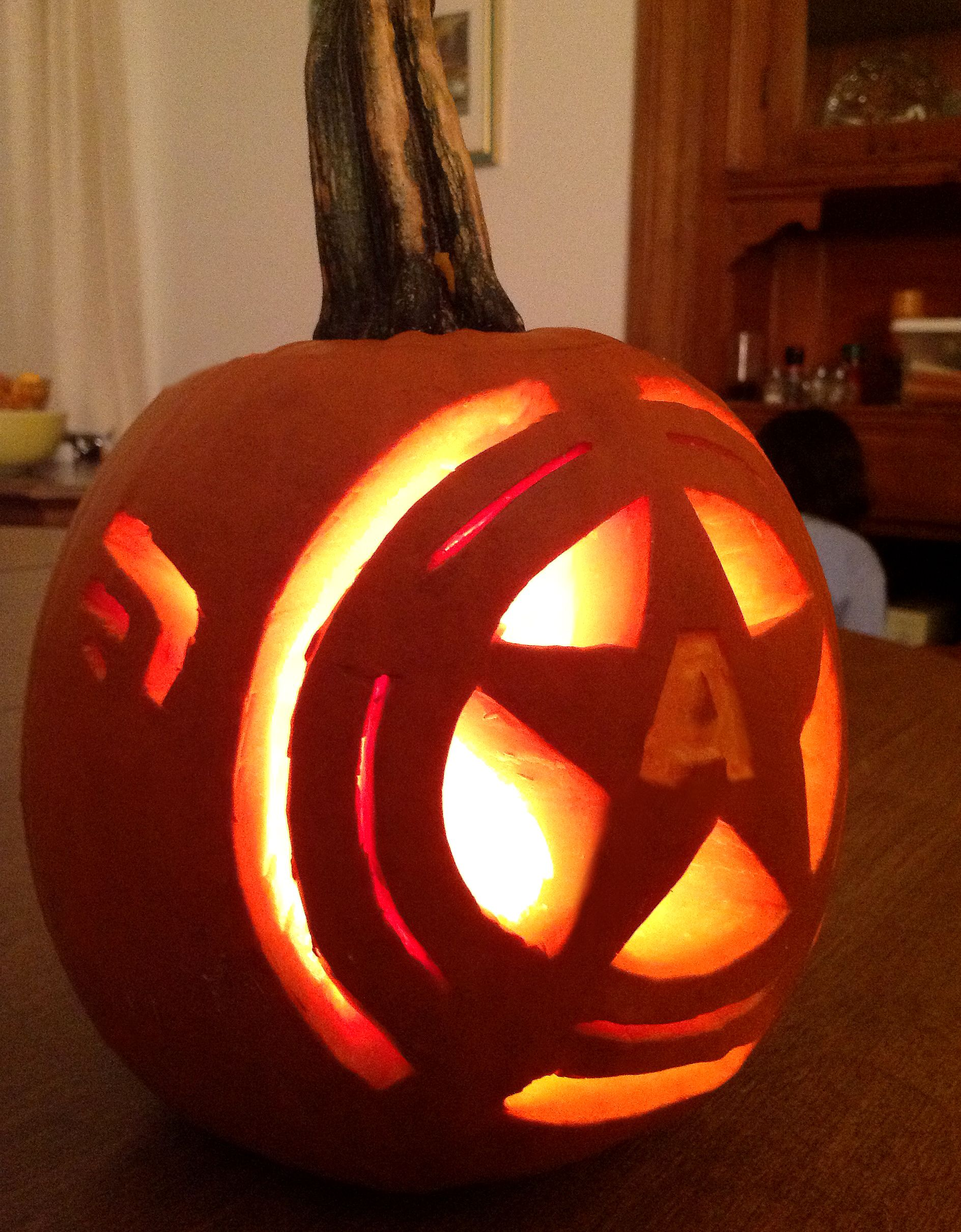 My Captain America pumpkin carving | Things for Emily | Pinterest ...