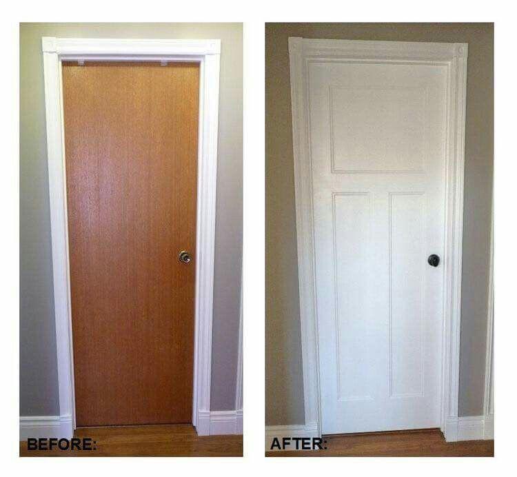 Turn Plain Door Into Craftsman Style Two Panel Door Replacing Interior Doors Diy Home Improvement Home Diy